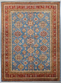 Sale 9199J - Lot 41 - A fine natural dye Afghan Kazak Ferehan rug, having an allover pattern on sky blue field with contrasting terracotta border, 372cm x...