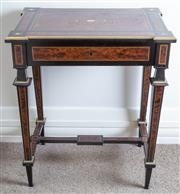Sale 8800 - Lot 31 - An exquisite French Thuya or Amboyna and mother of pearl inlay with brass stringing writing desk, with stretcher base and single fri...