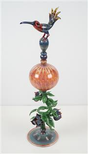 Sale 8510 - Lot 578 - Christian Arnold - Perfume Bottle with Flowers and Bird Stopper 50cm x 14cm (overall)