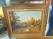 Sale 8640 - Lot 2100 - Dermont Hellier - Evening Light Coolac, Oil on Board SLR