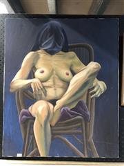 Sale 8779 - Lot 2070 - Naomi Hamilton - Seated Nude, acrylic on canvas, , SLR