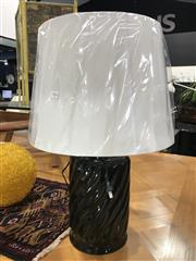 Sale 8809 - Lot 1046 - Pair of Italian Black Cylindrical Table Lamps with Self Embossed Swirl (2751Blk)