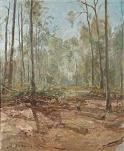 Sale 8821 - Lot 536 - Lance Solomon (1913 - 1989) - Australian Bush Scene with Figure 89 x 74cm