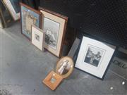 Sale 8833 - Lot 2076 - Group of Assorted Framed Works on Paper, together with antique Alphabet Tapestry