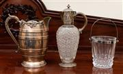 Sale 8882H - Lot 10 - A Victorian cut glass and silver plated claret jug, AF together with a barrel form water jug and an ice bucket (some chipping), Hei...