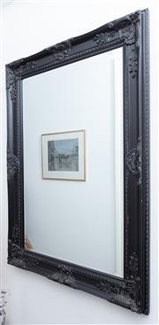 Sale 8891H - Lot 4 - A black painted decorative bevelled edge mirror, H 108cm x L 78cm