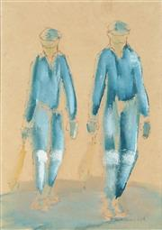 Sale 8927 - Lot 2006 - Per Garman-Vik (1933 - ) (2 works) Cricketers, 1978 ink and wash, 32x31;20x14cm, signed -
