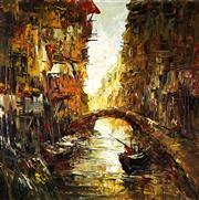 Sale 9001 - Lot 561 - Leonardo M. Zablan (1942 - 1982) - Canal Scene 75 x 75 cm (89 x 89 x 4 cm)
