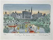 Sale 8996A - Lot 5034 - Peter Kingston (1943 - ) - Hendley On The Yarra, 1989 29 x 33.5 cm
