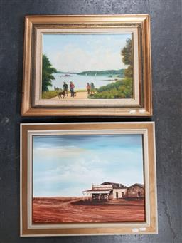 Sale 9155 - Lot 2067 - James Suttclif, charity point, oil on board, 44 x 54 cm, signed lower right, Nora Cunningham, Birdsville hotel, 30 x 60 cm, signed l...