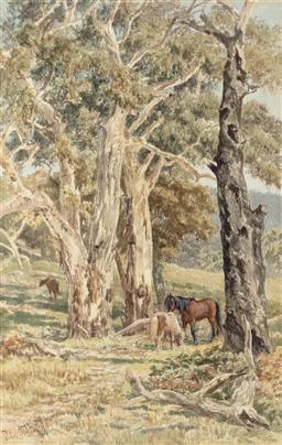 Sale 9190H - Lot 15 - James Waltham Curtis, Horses Grazing,Watercolour, 50cm x 31cm, SLL