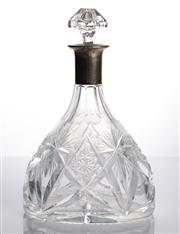 Sale 8528A - Lot 25 - An early German cut crystal and silver mounted decanter, with associated stopper, total H 25cm