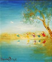 Sale 8656 - Lot 557 - David Boyd (1924 - 2011) - Children and Cockatoos 29.5 x 25cm