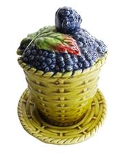 Sale 8828B - Lot 35 - An early C20th French Sarreguemines majolica blackberry decorated preserve pot, 3 piece. 16 x 13 cm