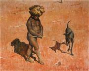 Sale 9013 - Lot 528 - Jack J.N. Kilgour (1900 - 1987) - Young Aboriginal Boy & Dog 45.5 x 57.5 cm (frame: 59 x 71 x 5 cm)