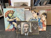 Sale 9028 - Lot 2074 - Group of (3) Contemporary Paintings By Pamela M Regan depiciting Indian Couple and Jazz Band; A Roman Solider and Portrait, together...