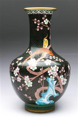 Sale 9093 - Lot 57 - A Large Cloisonné Chinese Vase Featuring Birds H: 39cm