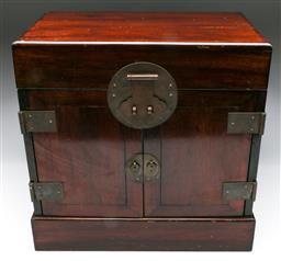 Sale 9144 - Lot 9 - Chinese elm jewellery box with fitted interior (W:40cm H:40cm D:25cm) - no lock