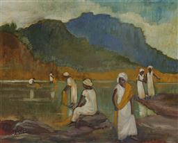 Sale 9161A - Lot 5007 - PIXIE OHARRIS (1903 - 1991) - Pilgrims washing sacred robes 39.5 x 49.5 cm (frame: 46 x 56 x 4 cm)