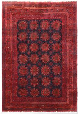 Sale 9199J - Lot 43 - A finely knotted wool Afghan Shariff Kundus rug, with repeating medallions in deep terracotta and blues, 300cm x 200cm