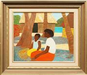 Sale 8630A - Lot 50 - Ray Crooke (1922 - 2015) - Resting Islanders 39 x 49.5cm