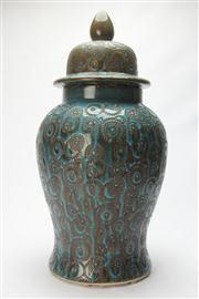 Sale 8670 - Lot 64 - Large Glazed Lidded Pottery Vase (H 65cm)