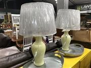 Sale 8809 - Lot 1090 - Pair of Italian Tall Lemon Coloured Table Lamps (3067)