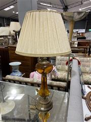 Sale 8876 - Lot 1052 - Amber Glass and Metal Finish Table Lamp