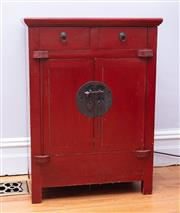 Sale 8891H - Lot 10 - A red painted Chinese two drawer, two door cabinet. Height 90cm x Width 66cm x Depth 42cm