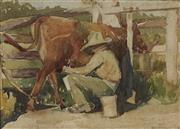 Sale 9072 - Lot 2020 - Artist Unknown Milking the Cow, 1931 watercolour (AF) 26 x 33cm, signed and dated lower right -