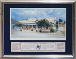 Sale 9113 - Lot 2064 - Rex Newell (1939 - 2016) Rising Sun Hotel, Auburn, SA decorative print, ed. 69/100 22 x 42 cm (frame: 46 x 58 x 2 cm) signed lower r...