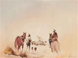 Sale 9139 - Lot 2019 - Charles McKenzie - The Sheep Drovers, Central Otago, NZ 29 x 39 cm (frame: 46 x 56 x 3 cm)