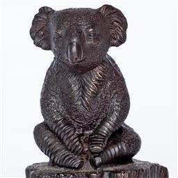 Sale 9154JM - Lot 5092 - GILLIE AND MARC Lewis the Koala on Log bronze sculpture, ed. 14/100 15 x 9 x 9.3 cm inscribed