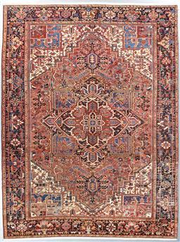 Sale 9199J - Lot 44 - A fine natural dye vintage Heriz Persian rug, c1970, traditional multi coloured, 320cm x 245cm