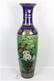 Sale 8403 - Lot 45 - Chinese Floor Vase in Green & Blue with Fine Gilded Detail & Chrysanthemum Flowers