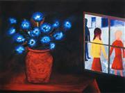 Sale 8492 - Lot 537 - Charles Blackman (1928 - ) - Blue Bouquet and Window 70 x 91cm
