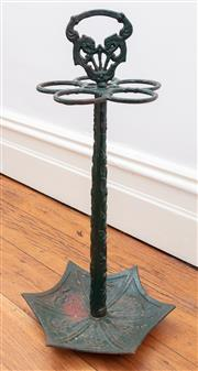 Sale 8891H - Lot 6 - A green painted iron umbrella stand, height 58cm