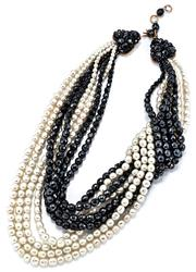 Sale 9054 - Lot 393 - A VINTAGE ITALIAN COPPOLA E TOPPO BLACK GLASS AND FAUX PEARL BEAD NECKLACE;  8 strands of cascading faceted iridescent black and gla...