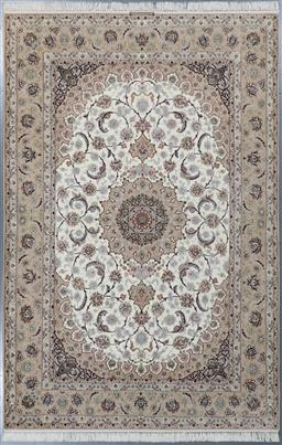 Sale 9199J - Lot 45 - A masterpiece wool and silk woven on silk fine Persian Isfahan rug, neutral pastel tones, 310cm x 204cm