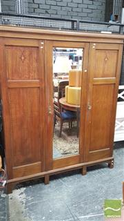 Sale 8390 - Lot 1574 - Inlaid Timber Wardrobe with Central Bevelled Edge Mirror Door