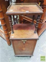 Sale 8416 - Lot 1063 - Victorian Rosewood & Marquetry Coal Cabinet & Whatnot, the top shelf with brass gallery, above a fall front with metal liner & shovel
