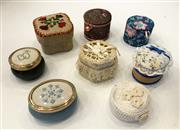 Sale 8436A - Lot 82 - A group of eight needlework inspired pill boxes.