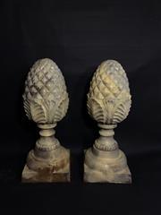 Sale 8600A - Lot 80 - A pair of cast iron gate post entrance finials of artichoke form, H 52cm.