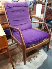 Sale 8822 - Lot 1102 - Vintage Timber Framed Lounge Chair