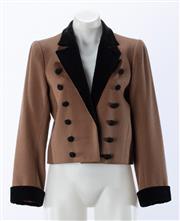 Sale 8910F - Lot 21 - A vintage Saint Laurent, Paris cropped jacket in brown wool/cashmere with black velvet trim, made in France, size 40