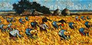 Sale 9001 - Lot 550 - Noparat Livisiddhi (1932 - ) - Harvest Scene 49 x 99 cm (frame: 70 x 121 x 7 cm)