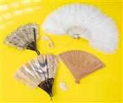 Sale 9066H - Lot 88 - A group of four vintage fans including sandalwood Spanish lace, painted with a Goya scene and a pierced Indian example.
