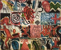 Sale 9133 - Lot 510 - Graham Fransella (1950 - ) Squares, 1984 colour etching and aquatint, ed. A/P (frame - no glass) 73 x 88.5 cm (frame: 98 x 103 x 5 c...