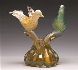 Sale 9138 - Lot 3 - Murano Figural Group of Two Birds on Branches (H:25cm)
