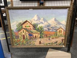 Sale 9147 - Lot 2084 - ARTIST UNKNOWN (DENMARK) - Mountain Village Scene frame: 72 x 101 cm
